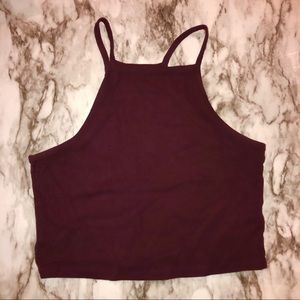 PACSUN NOLLIE | HIGH NECK CROP TOP | MAROON MEDIUM